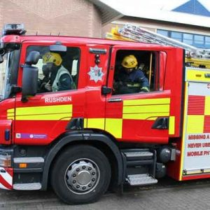 Fire engine with crew inside