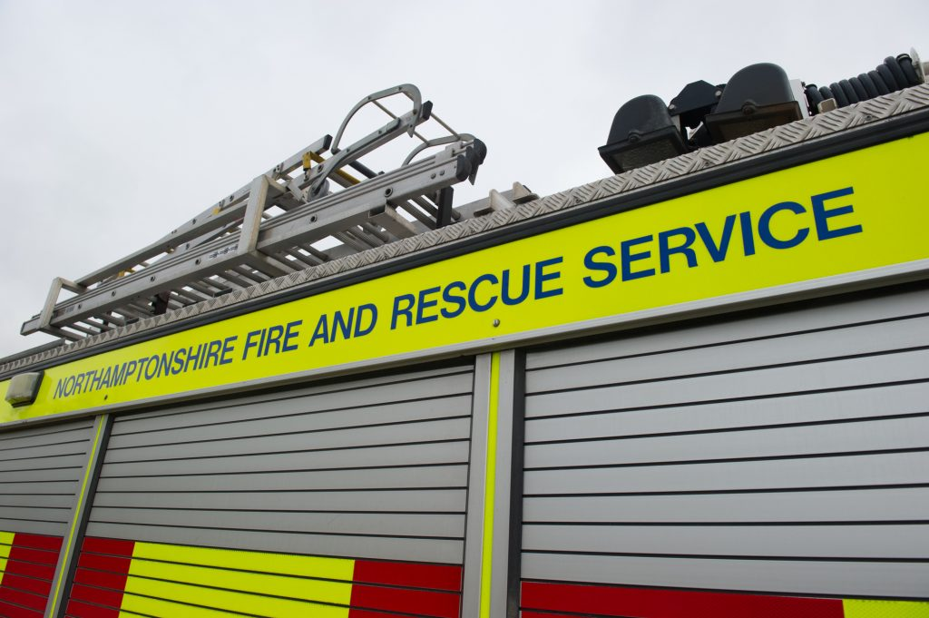 Northamptonshire Fire and Rescue Service sign on the side of a fire engine