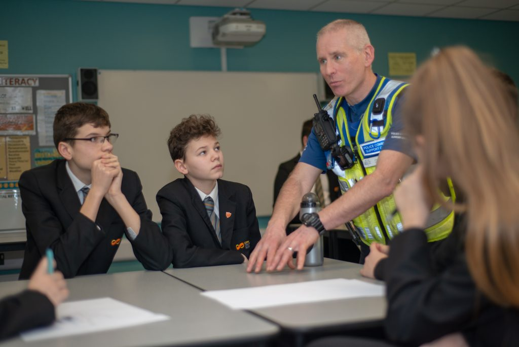 PCSO Steve Coles speaks to students about knife crime and the Northamptonshire County Schools Challenge