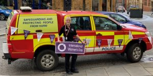 Firefighter Laura Cull taking part in International Women's Day event at Guildhall