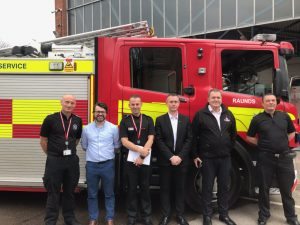 Howdens meet with members of Northamptonshire Fire and Rescue Service to discuss on-call recruitment