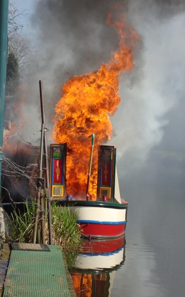 Fire on a boat