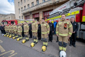 Firefighters at The Mounts Fire Station marking Firefighters Memorial Day