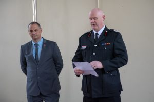 Assistant Chief Fire Officer Shaun Hallam speaking at Firefighters Memorial Day event
