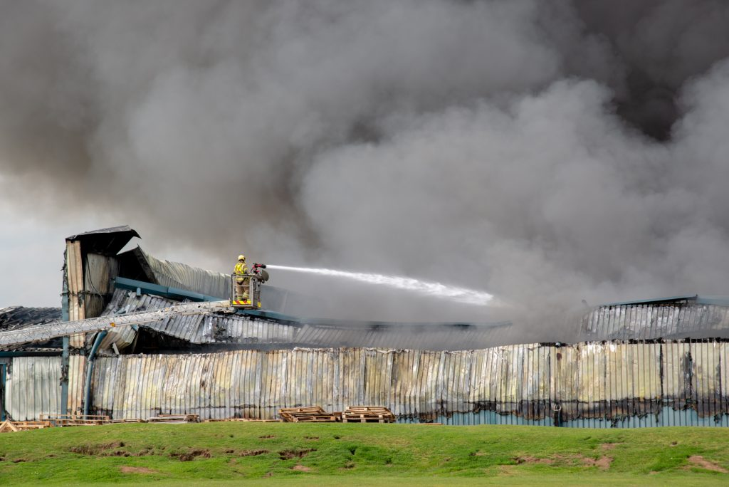 Two aerial ladder platforms were used to tackle the fire.