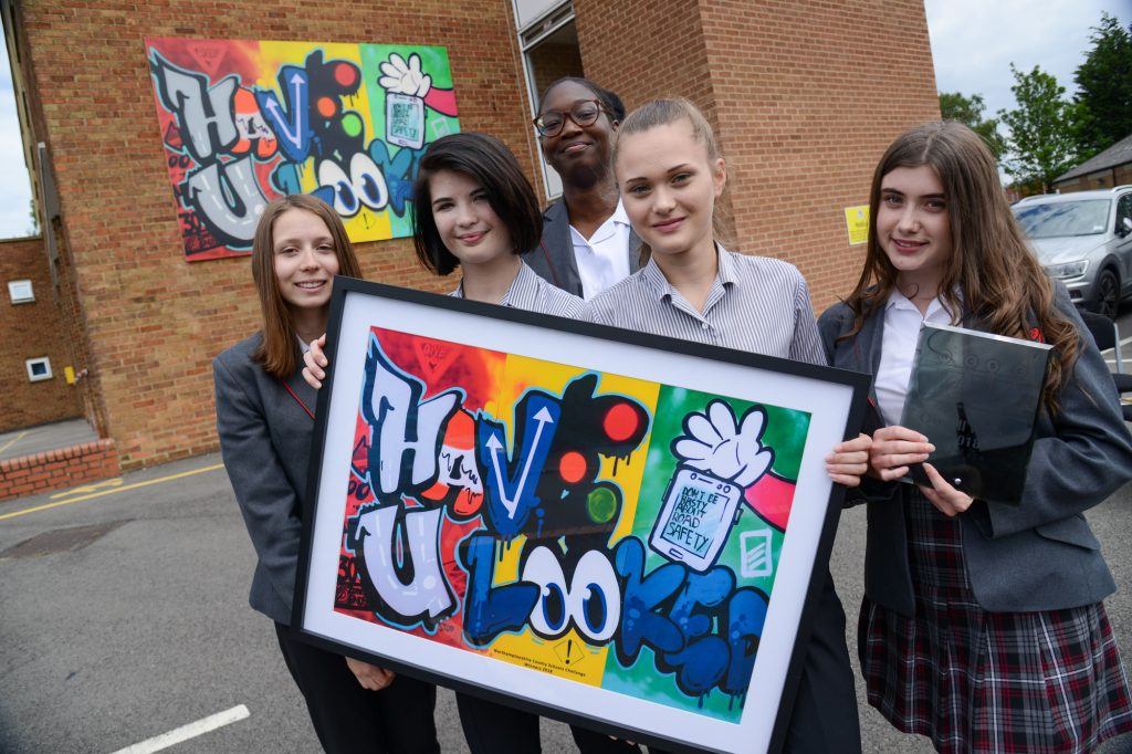 The team from Southfield School in Kettering, with their winning graffiti design