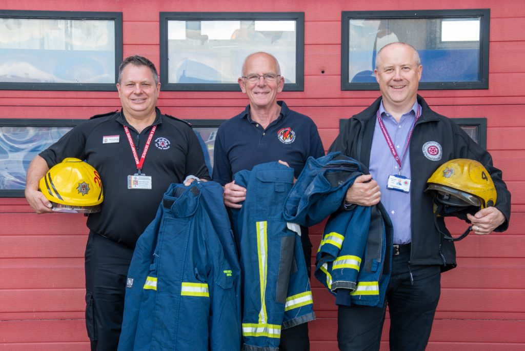 Chief Fire Officer Darren Dovey, Allan Henson from Operation Florian and Police, Fire and Crime Commissioner Stephen Mold