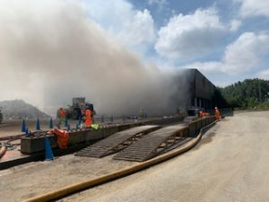 The scene of the fire at a waste transfer station in Rushton