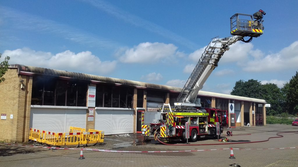 The scene of the fire at Studland Road, Northampton