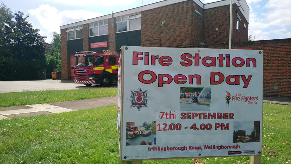 Wellingborough Fire Station with open day sign outside