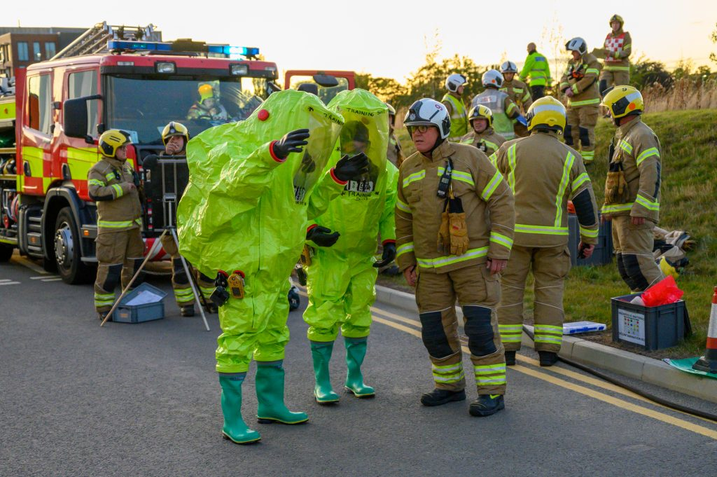 Firefighters take part in 'chemical spill' training exercise at university