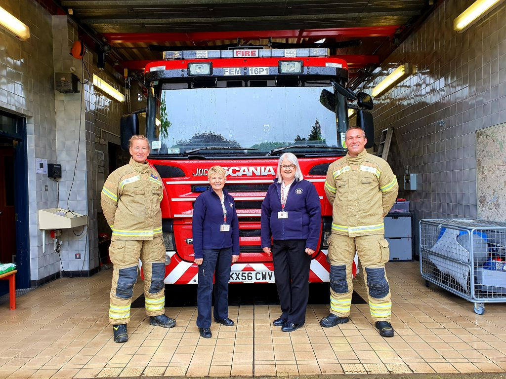 Firefighters with members of the Prevention team