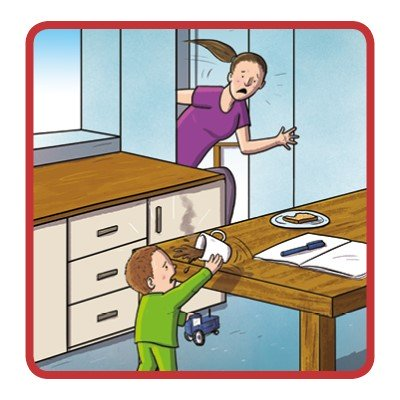 Cartoon showing a toddler pulling a cup of tea down onto himself from a table