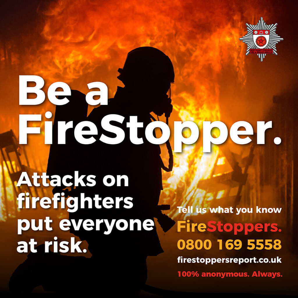 graphic with FireStoppers telephone number on