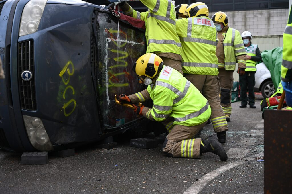 Crew at a mock up road traffic incident